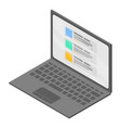 business laptop icon isometric style vector image vector image