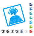 call center operator icon rubber watermark vector image vector image