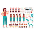 cartoon female character kit woman casual clothes vector image vector image