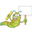 Cartoon inch worm holding a sign and a ruler vector image vector image