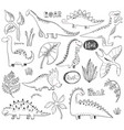 collection hand drawn dinosaurs vector image