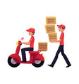 courier carrying pile of boxes delivering vector image vector image