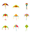 cute fly kite icon set flat style vector image vector image
