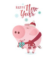 cute piggy in a winter scarf with a present vector image vector image
