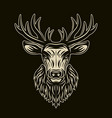deer head on dark background vector image vector image