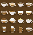 different types of coffee menu in flat design vector image