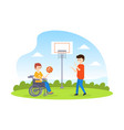 disabled basketball player with prosthesic leg vector image