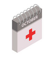 first aid calendar day icon isometric style vector image