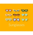 Flat set of sunglasses vector image