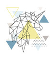 geometric unicorn silhouette on triangle vector image vector image