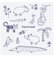Hand-draw tropical animals vector image vector image