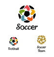 Hand-drawn logo with a soccer ball with hands like vector image vector image