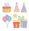 happy birthday celebration set icons vector image vector image