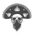 human skull in sombrero and bandana vector image
