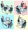 isometric flat design office people vector image vector image