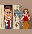 man breaking in the door comic book style vector image