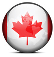 Map on flag button of Canada vector image
