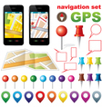 Navigation set with icons GPS vector image vector image