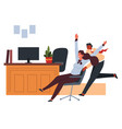 office worker pushing chair with seated colleague vector image vector image
