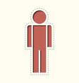 Paper clipped sticker man vector image vector image