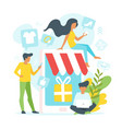 people making online shopping vector image