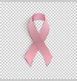 pink ribbon on transparent background vector image vector image