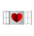 red heart in opened window paper cutting art vector image