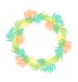 round frame of tropical leaves isolated vector image vector image