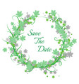 save date green floral vector image