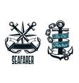 Seafarer marine heraldic emblem and symbol vector image vector image