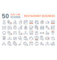 set line icons restaurant business vector image vector image