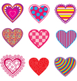 Set of multicolor hearts vector image vector image