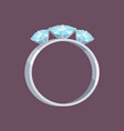 silver or white gold ring with three blue stones vector image