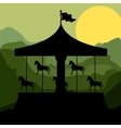 sunset background merry go round with horses vector image