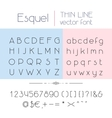 Thin line font vector image vector image