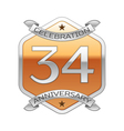 Thirty four years anniversary celebration silver vector image vector image