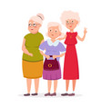 three cute senior women friends standing together vector image vector image