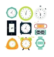 Types of alarms clocks digital vector image