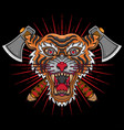 vintage tiger head tattoos vector image