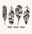 vintage tribal feather series doodle feather vector image vector image