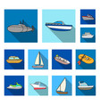 water and sea transport flat icons in set vector image