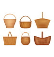 wicker basket handcraft decorative picnic vector image