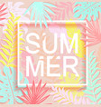 word summer is surrounded tropical leaves vector image vector image