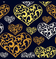 abstract lace hearts seamless pattern vector image vector image