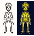 alien body in two styles black and colored vector image vector image