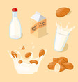 almond milk glass splash bottle pack icon set vector image
