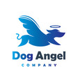 angel dog animal logo design your company vector image