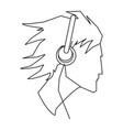 avatar head guy young headphones outline vector image