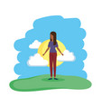 beautiful and young black woman in the field vector image
