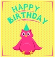 birthday card with funny little bird in cartoon vector image